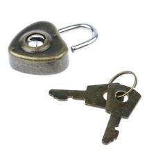 Vintage Heart Key Lock Mini Notebook Suitcase Padlock Antique Style with 2 Keys