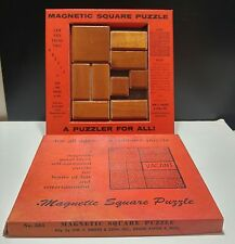 1961 Wood Magnetic Square Solitaire Puzzle by Drueke & Sons
