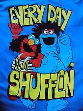 Sesame Street Elmo Cookie Monster Every Day I'm Shufflin Blue T Shirt Size XL