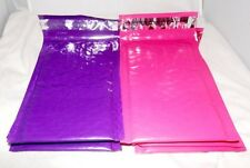 100 Hot Pink & Purple 4x8 Poly Bubble Mailers, Padded Shipping Mailing Envelopes
