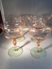 Depression Glass Watermelon Wine Glasses Etched Green And Pink
