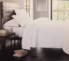 NEW CYNTHIA ROWLEY RUFFLED / RUCHED BEACHY COMFORTER SET QUEEN / FULL WHITE NWT