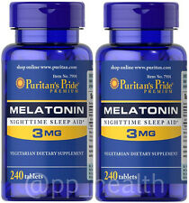 2 X Puritan's Pride Melatonin 3 mg Sleep Aid 240 Total 480 Tablets MadeinUSA