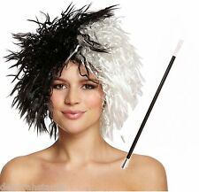Cruella de Ville Black White Wig Halloween Fancy Dress Costume Cigarette Holder