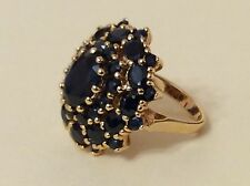 Black Sapphire Cluster Cocktail Ring in 925 Sterling Silver Gold Plated Sz 4.25