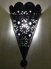 Moroccan Rustic Black Forged Wrought Iron Tin Wall Light Conical Sconce