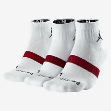 Nike Air Jordan Dri Fit Low Quarter Socks White/Red 546480-100 3 Pair L 8-12