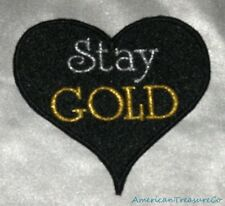 Embroidered Metallic Stay Gold Black Heart Love Outsiders Patch Iron On Sew USA