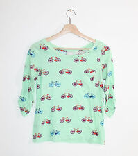 Anthropologie Postmark Banter Pocket Tee Bicycle Print 3/4 Sleeve Knit Top S