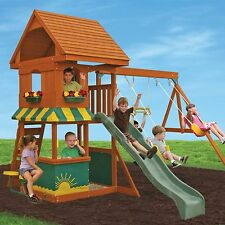 Wooden Swing Set Kids Outdoor Activity Center Fun Playhouse Backyard Sandbox KIT