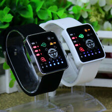 Anime One Piece LED Electronic Watch Glass Binary Wristwatch Gift Black/White