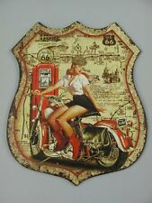 G3734: Nostalgie Blechschild, US Route 66 Pin Up Girl, Motorrad Wandschild 50x40