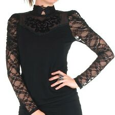 Punk Rave Gothic Victorian Steampunk Vintage Lace Top Blouse Shirt