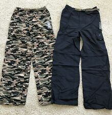 2 Gander Mountain Boys Convertible Cargo Pants Shorts Blue & Camo  NWT Size Med