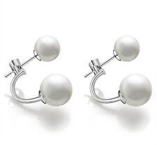 New!Fashion Lady 925 sterling Silver Freshwater Pearl Ear stud dangle Earrings