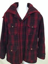 Vintage Woolrich Mackinaw Wool Coat W Attached Hood Buffalo Plaid Mens Size 44