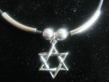 "Star of David Necklace with Silver highlights  - 1"" on 18"" solid rubber cord"