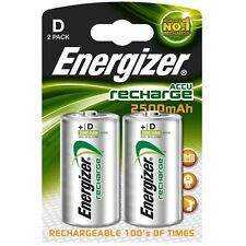 Energizer D Rechargeable Batteries 2 PACK 2500 mAh Battery BRAND NEW FREE POST