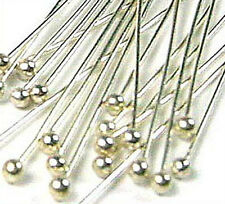 "100 28 gauge solid 925 Sterling Silver Ball head pin Headpin 1.5"" F11 bulk"