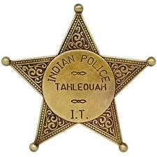 Indian Police Tahleouah Sheriff Badge Metal Denix 5 Point Ball Tipped Star Rep