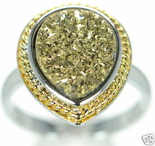 Solid 925 Sterling Silver Gold Color Pear Shape Druzy Cocktail Ring Size 7 '