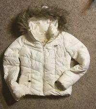 $300 Hollister Fur Down Filled Puffer Parka FUR HOOD Jacket Women Quilted SZ S