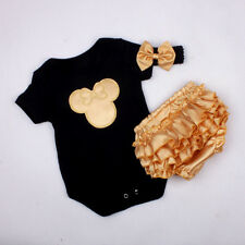 3pcs Infant Baby Girl Newborn Headband+Bodysuit+Shorts Outfit Clothes Set 0-3M
