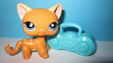 Littlest Pet Shop LPS 525 Blue Eyes Puzzle Short Hair Striped Orange Tear Drop
