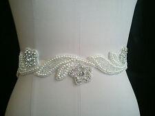 Pearl Crystal Wedding Bridal Dress Applique Trim Craft = DIY!