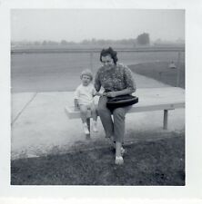 Vintage Original Photo Black White of Mom and Daughter, Sitting on Bench, 1960's