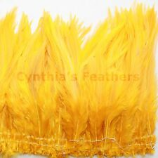 """100+ (9g, 0.32Oz) Bright Yellow 5-7"""" saddle COQUE rooster Feathers for crafting"""