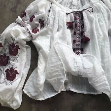 New FREE PEOPLE Anthropologie Marishka Embroidered Gauze Peasant Blouse - MEDIUM