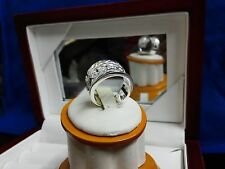 Sterling Silver Hollow Style Cubic Zirconia Wide Band Ring Size 8