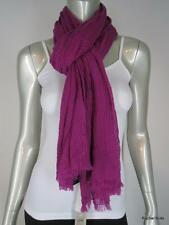 NWT $45 ANN TAYLOR 100% Wool Sheer Crinkled Magenta Long Scarf 26 x 80 NEW