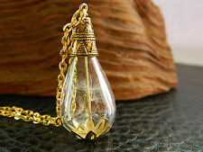 Real Dandelion Seeds Hand Blown Glass Teardrop Necklace.Bridesmaid.Gold.Handmade