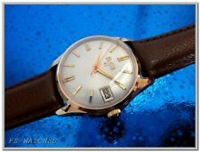 Vintage 1950s Mans Elgin Hand Winding, Silver Dial, Fancy Case, SERVICED