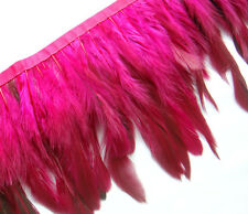 F273 PER 30cm-Long Fuschia Rooster Hackle hen feather fringe Fascinator Material