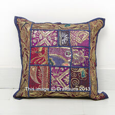 """16"""" Cushion Pillow Cover Handmade Patchwork Embroidered Pillows Throw Indian"""