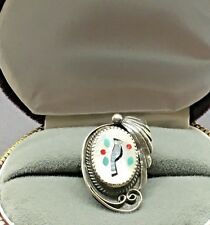 Sterling Silver Zuni Ring Cardinal Bird MOP  Coral Turquoise Inlay Size 6.5