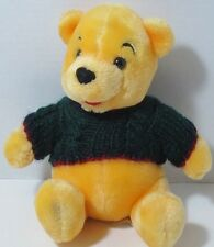 Disney Store WINNIE THE POOH Stuffed Plush Animal GREEN RED KNIT SWEATER