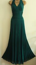ᴥᴥFAB MONSOON SUNSET SZ 14 ORIANE TEAL GREEN MAXI DRESS HALTERNECK EVENING PARTY