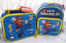 "Super Mario Brothers Mario Toddler School Backpack 10"" With Insulated Lunch Box!"