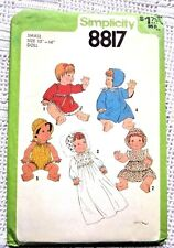 """8817 SEWING PATTERN~UNCUT 1978~13""""-14"""" BABY DOLL CLOTHES~CHRISTENING DRESS&HAT++"""
