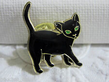 BULK LOT -6 x Black Cat with Green Eyes Enamel Gold Tone Tac Pin Brooch **NWOT**