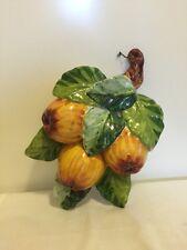 Ceramiche Artistiche Majolica Pottery Wall Plaque Golden Apples Katia Italy