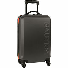 "NAUTICA AHOY HARDSIDE SPINNER DARK GRAY ORANGE  21"" WHEELED SUITCASE $300 VALUE"