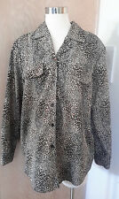 Truffles by Y.B Beautiful Long Sleeve Animal Print Button Front Blouse USA  XL