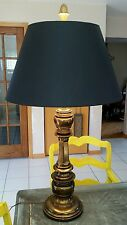 Vintage Frederick Cooper Tall Heavy Solid Brass Lamp Black Shade 3 Settings EUC
