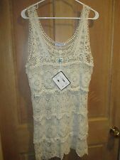 NEW✿ Blue Island CROCHET DRESS L/XL TUNIC Sheer Swimsuit Bikini Coverup Ivory