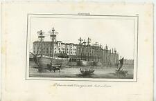 ANTIQUE DOCK OF THE EAST INDIA COMPANY LONDON SHIP ENGLAND ITALIAN TITLE PRINT